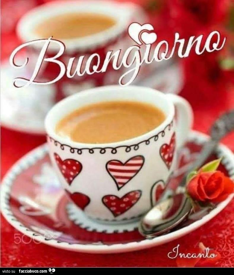 Tazzina di caffè a cuoricini. Buongiorno - Facciabuco.com